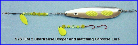 SYSTEM 2 Chartreuse Dodger and matching Caboose Lure